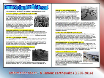 Famous Earthquakes (Science Information Article & Questions)