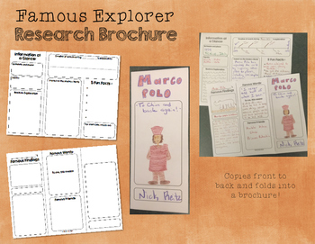 Famous Explorers Research Brochure - Informational Writing