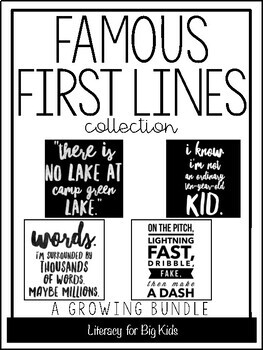 Famous First Lines: Book Quote Posters (with black AND whi