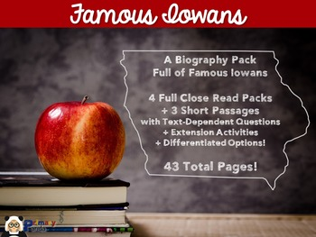 Famous Iowans Biography Close Reads Pack
