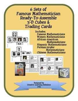Famous Mathematician 3-D Cubes & Trading Cards-6 sets