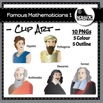 Famous Mathematicians Clip Art Pack 1 - 10 PNGS