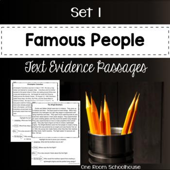 Famous People Biographies Close Reading Passages