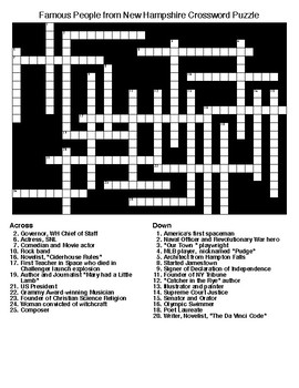 Famous People from New Hampshire Crossword & Word Search