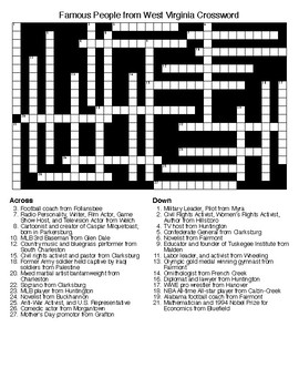 Famous People from West Virginia Crossword & Word Search