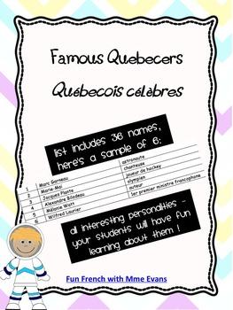 Famous Quebecers - Liste de Québecois célèbres - in French