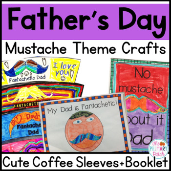 Father's Day Craft, Booklet & Card Funny Mustache Theme