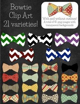 Fancy Bow Ties Clip Art - 21 patterns!