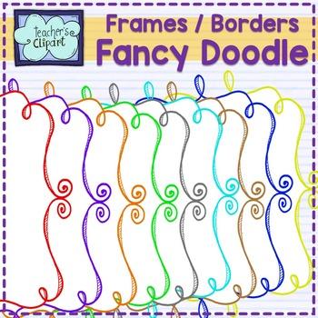 Fancy Doodle Frames - Border Clip Art (2 designs)