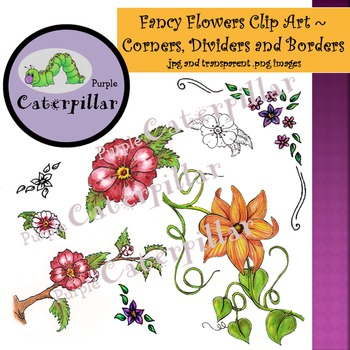 Fancy Flowers Clip Art with Borders, Dividers, and Corners