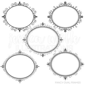 Fancy Oval Frames Cute Digital Clipart, Frame Graphics