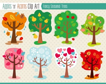 Fancy Seasonal Trees Clip Art - color and outlines