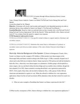 Fannie Lou Hamer Speech Analysis Lesson
