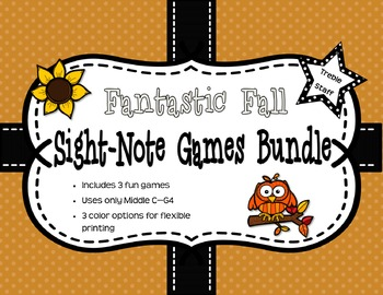 Fantastic Fall Sight Note Games Bundle: Treble Staff