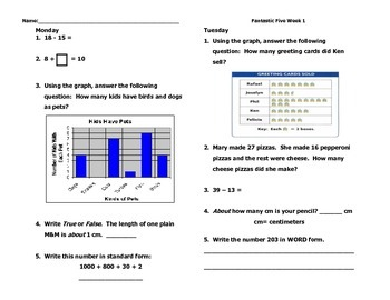 Fantastic Five 1st Quarter Week 1- 3rd Grade Common Core D