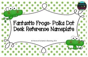Fantastic Frogs Polka Dot Desk Reference Nameplates