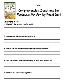 Fantastic Mr. Fox by Roald Dahl Comprehension Packet