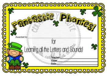 Fantastic Phonics St. Patty Certificate