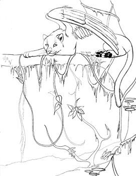 Fantasy Panther coloring sheet