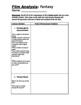 Fantasy film analysis graphic organizer