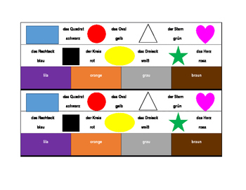 Farben und Formen (Colors and Shapes in German) Desk strips
