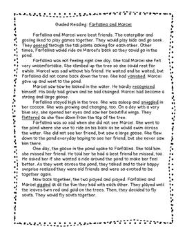 Farfallina and Marcel by Holly Keller, Guided Reading Sheet