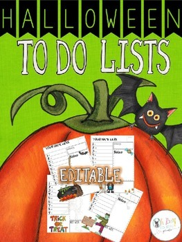 Farley's Halloween To Do Lists *editable*you customize it*