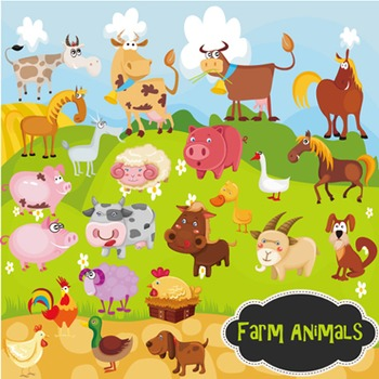 Farm Animal Clip Art Horse Dog Sheep Rooster Cow Duck - Co