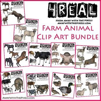 Farm Animal Clip Art for Teachers BUNDLE - Realistic Farm