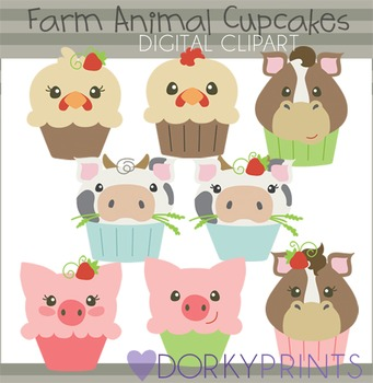 Farm Animal Cupcakes Clip Art