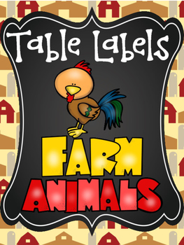 Farm Animal Table Labels (Table points, Table community Ba