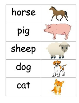 Farm Animal Vocabulary Cards Pocket Chart Station