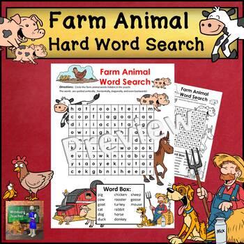 Farm Animal Word Search * HARD