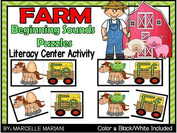 Farm Animals Beginning Sounds Literacy Center Puzzle Game