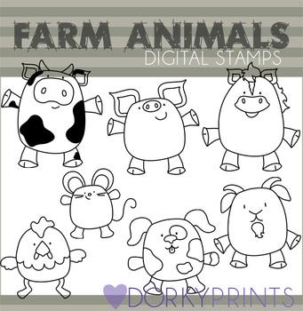 Farm Animals Black Line Art