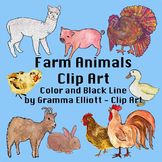 Clip Art - Farm Animals - 61 Color and Black Line Realistic Clips