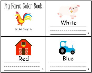 Farm Animals Color Writing Practice Mini Book Reader