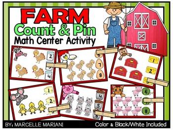 Farm Animals- Count & Pin Math Center Game- Color + Black