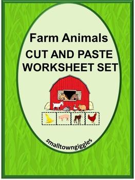 Farm Animals Cut and Paste NO PREP Kindergarten Math and L