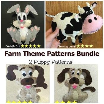 Farm Animals Felt Hand Sewing Patterns Bundle