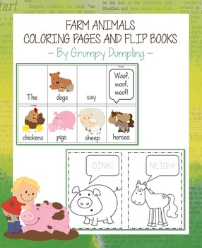Farm Animals - Flip Books and Coloring Pages