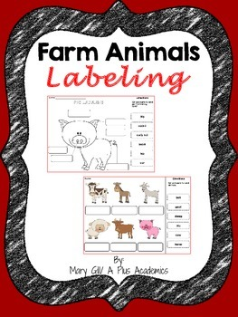 First / Second Grade - Farm Animals Labeling