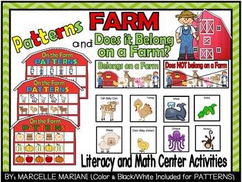 Farm Animals- PATTERNS+ Does it Belong on a Farm Literacy+
