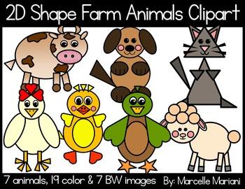 2D farm animals-Farm Animals from shapes Clip art- 2D anim