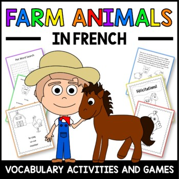 French Farm Animals Vocabulary Sheets, Printables, and Bingo Game