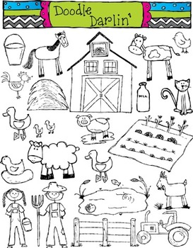 Farm BLACK & WHITE Clipart Set