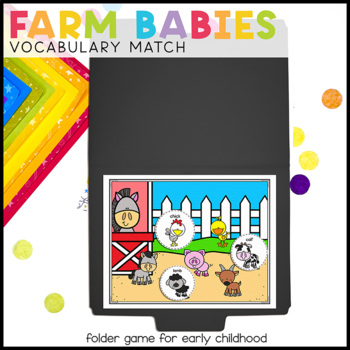 Farm Babies Vocabulary Folder Game for Early Childhood Spe