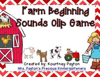 Farm Beginning Sounds Clip Game