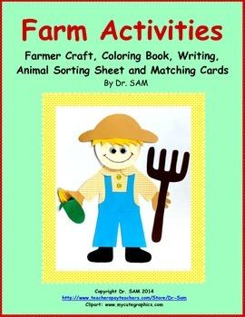 Farm Activities: Craft, Coloring Book, Writing, Animal Sor