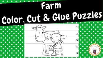 Farm Color, Cut and Glue Puzzles